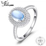 JewelryPalace 1.1ct Natural Cabochon Sky Blue Topaz Halo Ring Charms 925 Sterling <b>Silver</b> Engagement Rings For Women Fine <b>Jewelry</b>