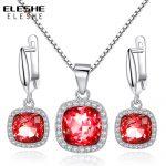 ELESHE Red Austrian Crystal Earrings <b>Necklace</b> Pendant Solid 925 Sterling Silver <b>Jewelry</b> Set Fashion <b>Jewelry</b> Accessories