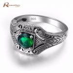 100% Real Pure 925 Sterling <b>Silver</b> Rings Green CZ Stone For Women Men Bulgaria <b>Jewelry</b> Vintage Design <b>Silver</b> Finger Ring