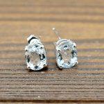 2.8ct 6x8mm Oval Cut Natural Aquamarine 925 Sterling <b>Silver</b> Women Stud <b>Earrings</b> Engagement Wedding Party Fine Jewlery Gemstone