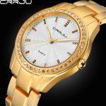 CRRJU High Quality Analog Top Branded Dress Watches Women Rhinestone Fashion Clock Stainless Steel Watch Ladies Gift Gold <b>Silver</b>
