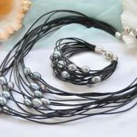 Elegant <b>Handmade</b> Real Pearl <b>Jewelry</b> Set 15row 13mm Black Rice Freshwater Pearl Black Leather Necklace Bracelet Magnet Clasp