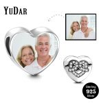 YUDAR Personalized 925 Sterling <b>Silver</b> Heart Photo Charm Pave Cubic Zircon Heart Charm for <b>Bracelet</b> Gifts for Family YDS-1117