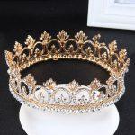 Full Round Crown Hairwear Gold Tiara Rhinestone <b>Wedding</b> Hair Accessories for Women Girls Bridal Hair <b>Jewelry</b> Diadema couronne