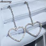 choucong Heart love Drop earring AAAAA zircon 925 Sterling silver Engagement <b>Wedding</b> Dangle Earrings for women Bridal <b>jewelry</b>