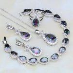 Fish Mystic Rainbow Cubic Zirconia White CZ 925 Silver <b>Jewelry</b> Sets For Women Wedding <b>Necklace</b>/Earrings/Pendant/Ring/Bracelet
