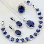 Oval 925 Sterling <b>Silver</b> Jewelry Blue Stones White CZ Jewelry Sets For Women Wedding Earring/Pendant/Necklace/<b>Bracelet</b>/Ring