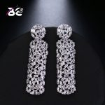 Be 8 New Fashion AAA Cubic Zirconia Baguette Shape Dangle Earrings Bridal <b>Wedding</b> <b>Jewelry</b> for Women Gifts E504