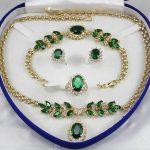 Women's Wedding women's <b>jewelry</b> Green Crystal Gem yellow gold Earring Bracelet Necklace Ring+box 5.27 real silver –<b>jewelry</b>