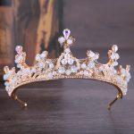 Vintage Gold Tiaras And Crown Pearl Headband Rhinestone Diadem For Wedding Women Hair <b>Jewelry</b> Bridal Hair Accessories Headdress