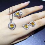 KJJEAXCMY boutique jewels 925 Pure <b>silver</b> inlay natural oval yellow crystal female ring + necklace + pendant set inlay accessori