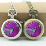 WholesaleHummingbird Pocket Watch Bird <b>Jewelry</b> Glass Cabochon Locket Necklace <b>Antique</b> Pocket Watch Necklace