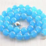 New (Min Order1) 10mm Blue Chalcedony Beads Necklace Rope Chain Beads Hand Made Fashion <b>Jewelry</b> <b>Making</b> Design Gift For Women