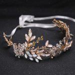 Duolafine <b>Handmade</b> Golo Color Leaf Headpiece Wedding Hair Accessories Crystal Bridal tiara Headbands Hair <b>Jewelry</b> FD562