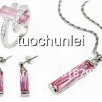 Women's Wedding Wholesale Beautiful Silver Plated Pink Crystal Pendant Earring Ring Set real silver-<b>jewelry</b>