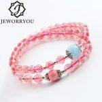 Strawberry Quartz 6mm Crystal <b>Bracelet</b> Femme Two Ring Wrap <b>Bracelet</b> <b>Silver</b> Aquamarine And Pink Shell Accessories Women <b>Bracelets</b>