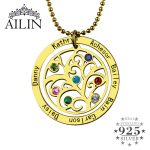 Wholesale Birthstone Family Tree <b>Necklace</b> Gold Color Personalized Mother <b>Necklace</b> Engraved Our Family Name Mother <b>Jewelry</b>