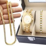 Party <b>Necklace</b>/bracelet Men Special Offer Jewelery Set Hip Hop Gold Color Watch 1 Row Rhinestones Chain Bracelet Combination