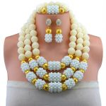Nigerian Wedding Multi Layer <b>Necklace</b> / Earring Indian <b>Jewelry</b> Sets White <b>Necklace</b> Fashion African Beads <b>Jewelry</b> Set