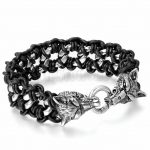 Men's Stainless Steel Black Leather Braided Bracelet Link <b>Silver</b> Wolf Gothic Biker <b>Jewelry</b> 9.2 inch pulseira masculina couro