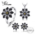 JewelryPalace Flower Taupe Smoky Quartz Black Spinel Rings Pendant Necklaces Stud Earrings Fine <b>Jewelry</b> Sets 925 <b>Sterling</b> <b>Silver</b>