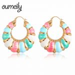 OUMEILY Hoop Earrings Women Wedding Statement Geometric Earrings Bohemian Circle Party Indian <b>Jewelry</b> Earring New Years Gift