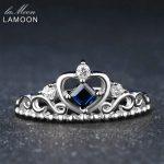 LAMOON Princess Cut 100% Sapphir 925 Sterling <b>Silver</b> <b>Jewelry</b> Crown Wedding Ring with S925 For Women LMRI047