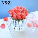 NZ New Listing Round <b>Handmade</b> 9/11 Holes Clear Plastic Gift Acrylic <b>Jewelry</b> Display Rose Flower Box With Lid