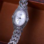 MetJakt Handmade Woven Thai <b>Silver</b> <b>Bracelet</b> Watch with Zircon Solid 925 Sterling <b>Silver</b> <b>Bracelet</b> for Women's Quartz Watch