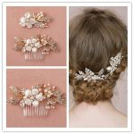 Beauty 2 Pieces Hair Accessories Floral Pearl Shell Hair combs Crystal Pearl Bridal Hair Clips <b>Jewelry</b> Zinc Alloy Hair Accessory