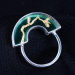 925 sterling silver flowers natural jade rings Frosted flower natural green jade <b>handmade</b> rings silver women jade <b>jewelry</b> gift