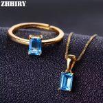 ZHHIRY Women Natural Blue Topaz Stone <b>Jewelry</b> Set Pendant Ring Chain Solid 925 <b>Sterling</b> <b>Silver</b> Genuine Gem Sets