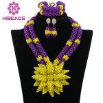 <b>Handmade</b> Yellow Flowers Brooch Nigerian Wedding Beads African <b>Jewelry</b> Sets Purple Crystal Women Necklace Free Shipping ABK612
