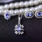 Natural blue tanzanite gem jewelry sets natural gemstone Pendant ring <b>Earrings</b> 925 <b>silver</b> round Diana women party fine jewelry