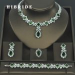 HIBRIDE Brilliant Cubic Zirconia Wedding <b>Jewelry</b> Sets For Women Bridal 4 pcs Earring Necklace Set Promotion Factory Price N-318