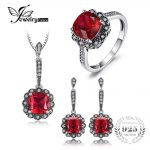 JewelryPalace Vintage 11ct Created Ruby Ring Pendant Necklace Drop Earrings Fine <b>Jewelry</b> Sets 925 <b>Sterling</b> <b>Silver</b> 45cm Chain New