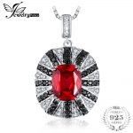 JewelryPalace Luxury 6ct Red Created Ruby Natural Black Spinel Solid 925 Sterling <b>Silver</b> Pendant Fashion <b>Necklace</b> 45cm Chain