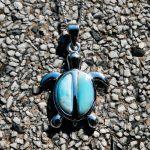 DJ CH Blue Larimar Natural Stone Gemstone Sea Turtle Charm Pendant 925 Sterling <b>Silver</b> Fine <b>Jewelry</b> Pendant for Woman/Man