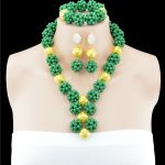 2016 Latest African Green Beads Bridal <b>Jewelry</b> Set Fashion Women <b>Jewelry</b> Set <b>Handmade</b> Nigerian Beads Necklace Set