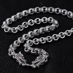 S925 <b>Silver</b> <b>Jewelry</b> Retro Thai <b>Silver</b> Handsome Men Domineering Dragon Rough Long Male Male <b>Silver</b> Clavicle Necklace Wholesale