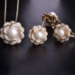 Blucome Cubic Zircon Imitation Pearl Flower <b>Jewelry</b> sets Gold Color Wedding Women Lady Bijoux Copper Earrings <b>Necklace</b> Ring Set