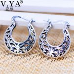 V.YA Vintage <b>Jewelry</b> Round Shape 925 Sterling Silver Hoop Earrings Brincos for Women Female Mother Day Gift