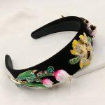 New Catwalk Velvet Tulip Flower Baroque Headband Bee Crystal Queen Crown Headwear For Women Charm Tiara <b>Wedding</b> party <b>Jewelry</b>