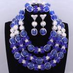 Splendid Royal Blue <b>Silver</b> African Beads Jewelry Sets Balls Crystal Beads Necklace Nigerian Wedding Celebrity Jewelry Sets 2018