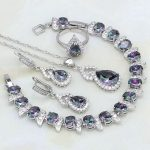Gourd Mystic Rainbow Crystal White Zircon 925 <b>Silver</b> Jewelry Sets For Women Wedding Open Ring/Necklace/Earrings/Pendant/<b>Bracelet</b>