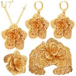 U7 Vintage Big Flower <b>Jewelry</b> Sets Gold Color Necklace Cuff Bracelet Earrings And Ring Bridal <b>Wedding</b> <b>Jewelry</b> For Women Gift S56