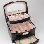 Crocodile Print <b>Jewelry</b> Box Storage Organizer Case Leather Black Ring Earring Necklace Mirror Lady Gift Home Storage <b>Supplies</b>