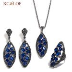 KCALOE Bride Sets Blue Crystal Big Ear Ring Earrings <b>Necklace</b> Jewelry Set For Women Antique <b>Silver</b> Color Wedding Jewellery
