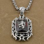 925 Sterling <b>Silver</b> Lion On Fire CZ Stone Mens Biker Rocker Pendant 9E009A(<b>Necklace</b> 24inch)