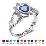 925 Sterling Silver Claddagh Rings Personalized Heart Birthstones Rings Irish Friendship Women <b>Jewelry</b> Gifts(RI102799)